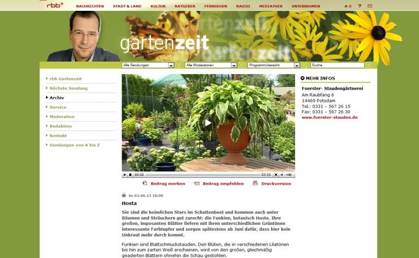 Hosta sind die heimlichen Stars im Schattenbeet - rbb-Gartenzeit vom 2. Juni 2013